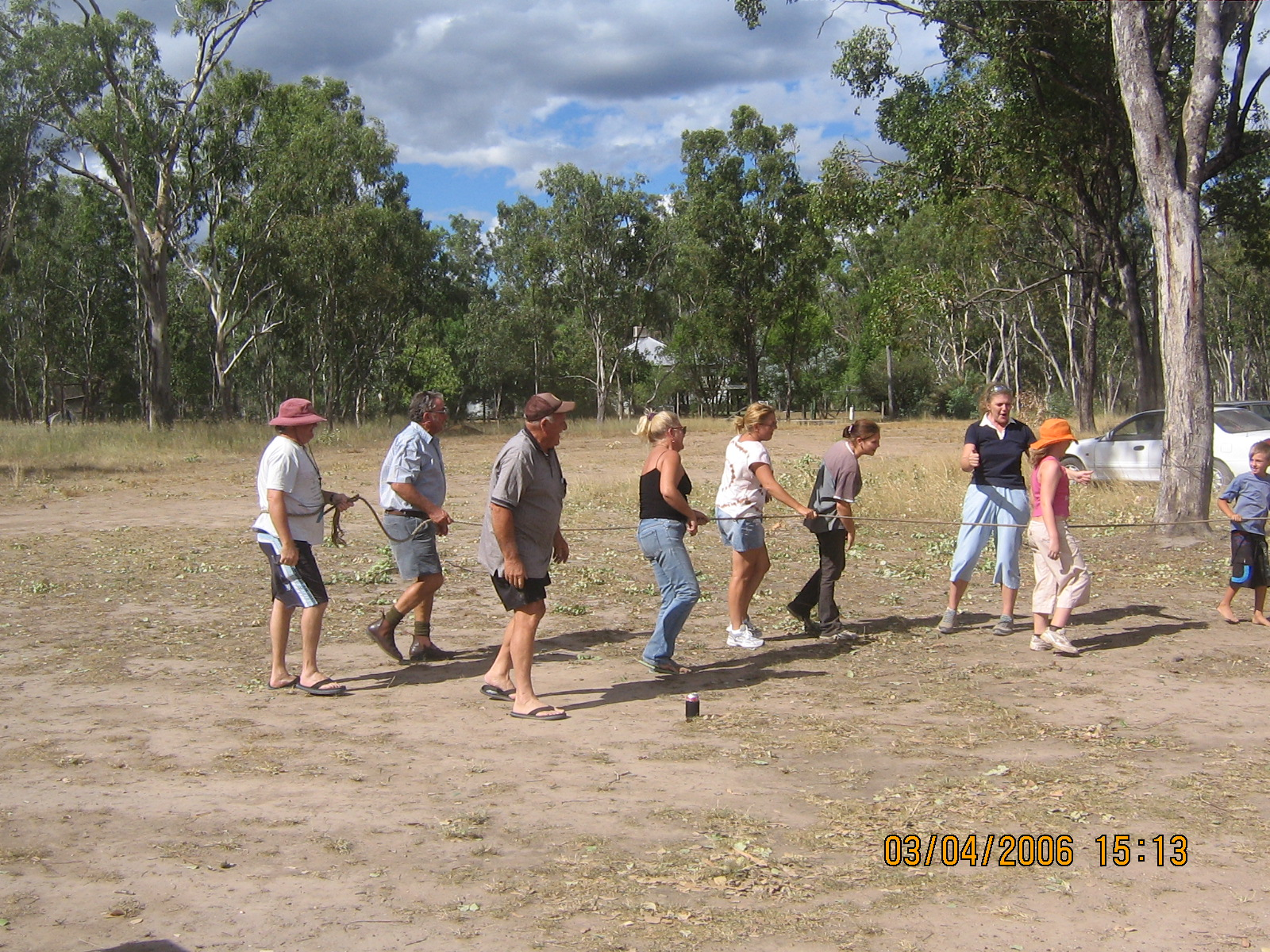 tug a war at our first social club sausage sizzle